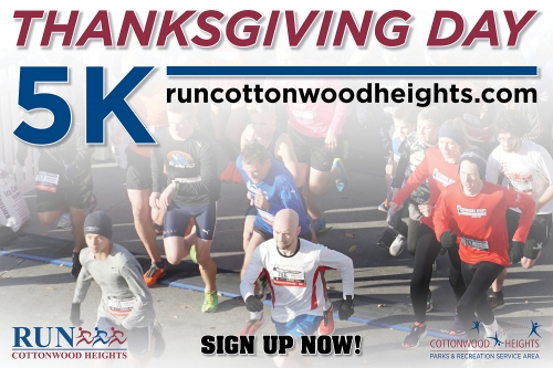 """Run First, Gobble Later!!!"" Sign up for the 2019 Cottonwood Heights Thanksgiving Day 5K"