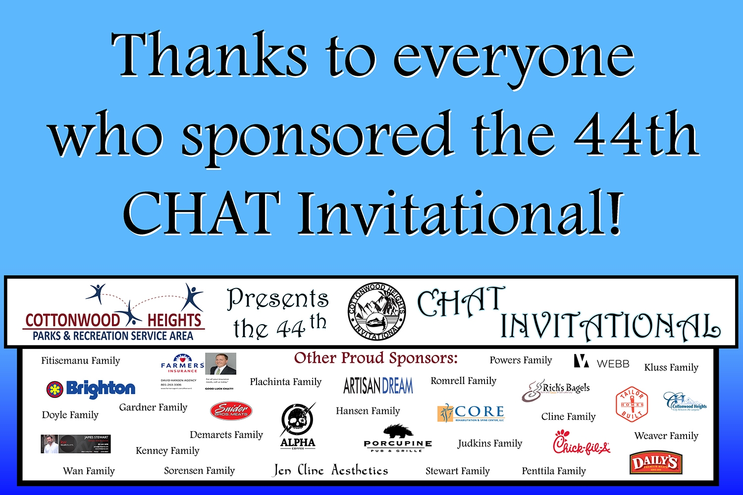 The 44th CHAT Invitational Sponsors